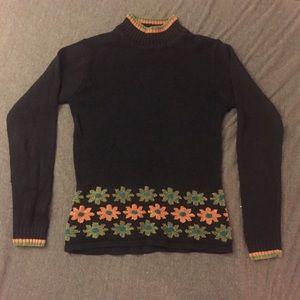 VINTAGE Mockneck Chenille Floral Sweater